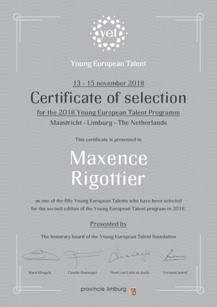 Young european talent certificate of selection 2018