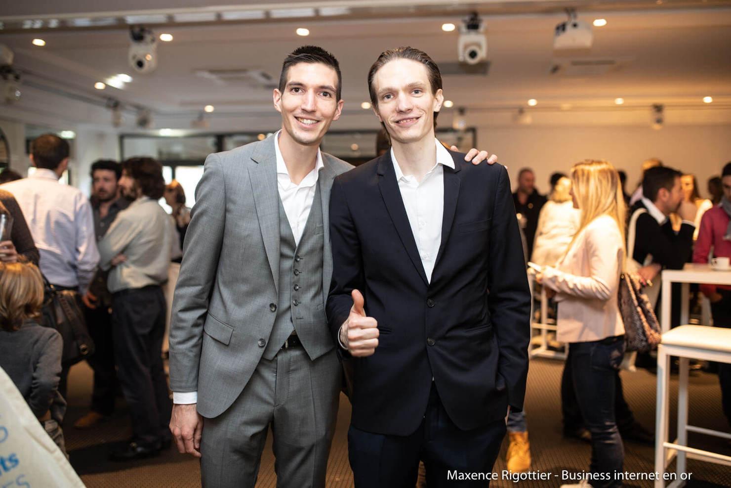 Toutes les formations de Maxence Rigottier : photo des frères Maxence et Jonathan Rigottier au séminaire Business Internet en Or 2018